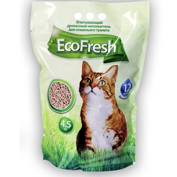 Наполнитель для кошек EcoFresh древесный 4.5кг
