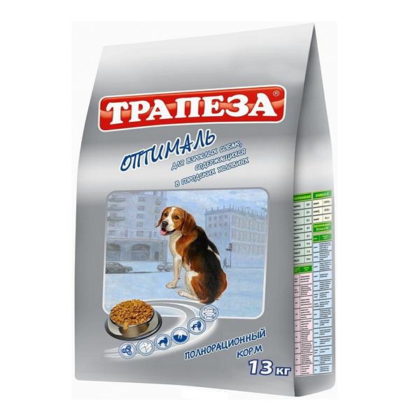 Корм сухой Трапеза для взрослых собак всех пород живущих в городе с мясом 13кг
