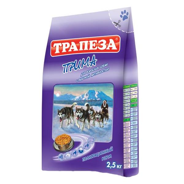 Корм сухой Трапеза для взрослых собак всех пород с высокой активностью с мясом 13кг